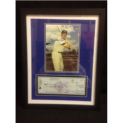 "FRAMED AUTOGRAPHED MICKEY MANTLE 5"" X 7"" PHOTO W/ FACSIMILE PARKWAY BANK CHEQUE"