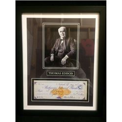"FRAMED THOMAS EDISON 5"" X 7"" PHOTO W/ FACSIMILE MECHANICS NATIONAL BANK CHEQUE"