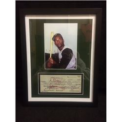 "FRAMED ROBERTO CLEMENTE 5"" X 7"" PHOTO W/ FACSIMILE CHEQUE"