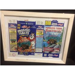 AUTOGRAPHED VANCOUVER GRIZZLIES BASKETBALL TEAM ON FROSTED FLAKES CEREAL BOXES FRAMED