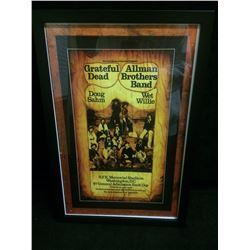 "ELECTRIC FACTORY CONCERTS FRAMED GRATEFUL DEAD & ALLMAN BROTHERS 13"" X 8""  BAND CONCERT POSTER"
