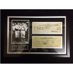 "FRAMED BABE RUTH & TY COBB 5"" X 7"" PHOTO W/ FACSIMILE BANK CHEQUES"