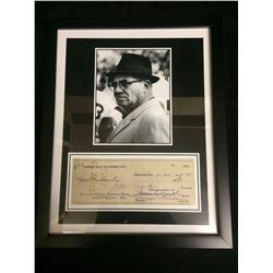 "FRAMED VINCE LOMBARDI 5"" X 7"" PHOTO W/ 1957 FACSIMILE KELLOGG CITIZENS BANK CHEQUE"