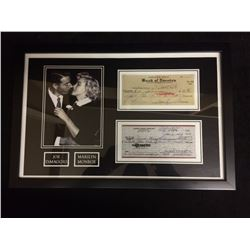 "FRAMED JOE DIMAGGIO & MARILYN MONROE 5"" X 7"" PHOTO W/ FACSIMILE BANK CHEQUES"
