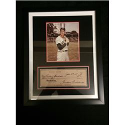 "FRAMED TED WILLIAMS 5"" X 7"" PHOTO W/ FACSIMILE CHEQUE"