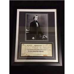 "FRAMED JEFFERSON DAVIS 5"" X 7"" PHOTO W/ FACSIMILE CHEQUE"