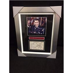 "FRAMED ELVIS PRESLEY 6"" X 6"" PHOTO W/ 1953 SELECTIVE SERVICE LAW DRAFT CARD"