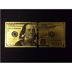 24 KARAT GOLD FOIL 100 DOLLAR USA BANK NOTE