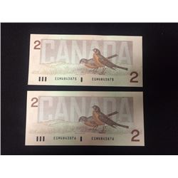 TWO DOLLAR SEQUENTIAL CANADIAN BANK NOTES