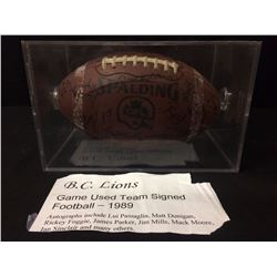 1989 BC LIONS GAME USED AUTOGRAPHED CFL FOOTBALL