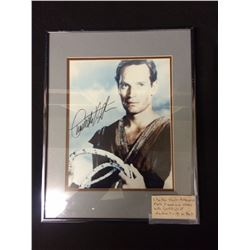AUTOGRAPHED CHARLTON HESTON PHOTO FRAMED & MATTED W/ COA