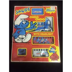 BATTERY OPERATED SMURF CHOO-CHOO TRAIN W/ HEADLIGHT IN BOX