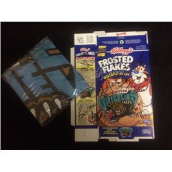AUTOGRAPHED VANCOUVER GRIZZLIES BASKETBALL TEAM ON FROSTED FLAKES BOX W/ GRIZZLIES BANNER