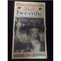 AUTOGRAPHED TORONTO BLUEJAYS WORLD SERIES NEWSPAPER SPORS SECTION