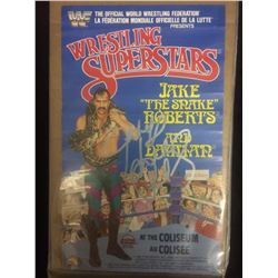 WWF JAKE THE SNAKE ROBERTS SIGNED FIGURE POSTER