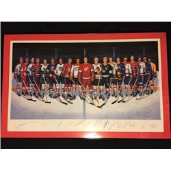 THE FISRT 500 GOAL SCORERS SIGNED BY 16 INC HOWE, RICHARD PROFESSIONALLY FRAMED