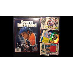 WAYNE GRETZKY HOCKEY CARD LOT W/ SPORTS ILLUSTRATED MAGAZINE