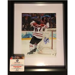 "AUTOGRAPHED SIDNEY CROSBY FRAMED  12' X 15"" PHOTO W/ COA"