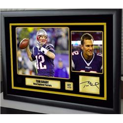 "AUTOGRAPHED TOM BRADY 15"" X 12"" FRAMED VINYL PHOTO"