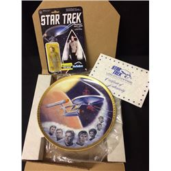 STAR TREK COLLECTIBLE ENTERPRISE STARSHIP PLATE W/ VINTAGE ACTION FIGURE W/ COA