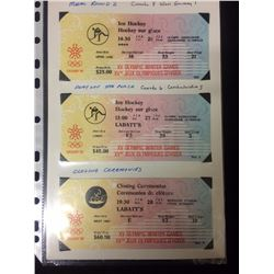 1988 CALGARY WINTER OLYMPICS EVENT TICKET STUBS