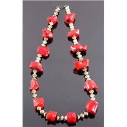 Early Navajo Coral Nugget Branch Necklace