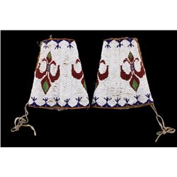 Plains Beaded Hide Dance Cuffs c. 1890-1900