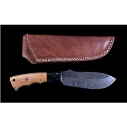CFK Damascus Olive Wood Custom Knife & Scabbard
