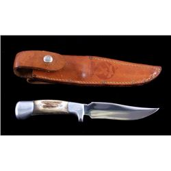 "Ruana ""M"" Stamp Hunter Knife & Leather Scabbard"
