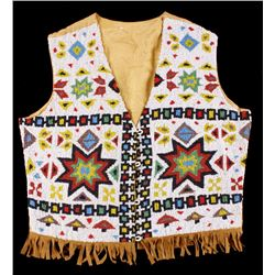 Lakota Sioux Fully Beaded Vest 1920-1940's