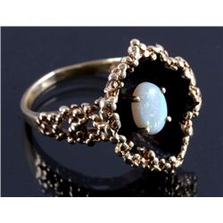 Ladies 14K Gold Fire Opal Shadow Box Ring