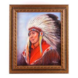 Original Native American Indian Oil Painting