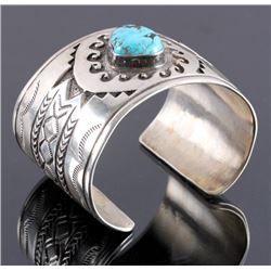 Christopher Hoskie Navajo Sterling Turquoise Cuff