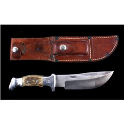 R.H. Ruana Skinner Knife & Leather Scabbard