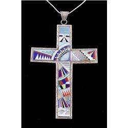 Zuni Inlaid Mosaic Large Cross Necklace by M.Y.