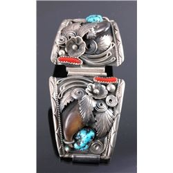 Navajo Sterling & Turquoise Bear Claw Watch Band