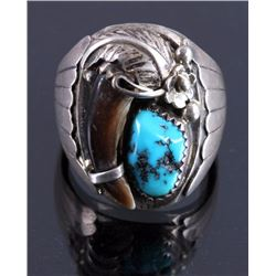 Navajo Sterling Silver Turquoise Bear Claw Ring