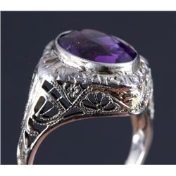 Edwardian Filigree 18K White Gold Amethyst Ring