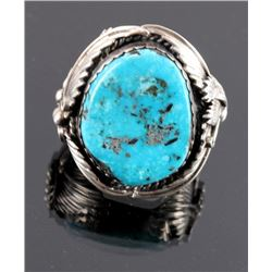 Signed Navajo Sterling Silver and Turquoise Ring
