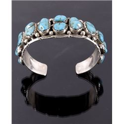 Navajo Sleeping Beauty Old Pawn Silver Bracelet