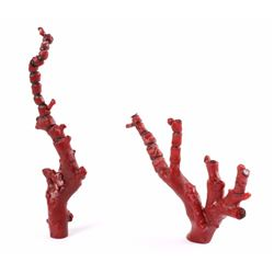 Antique Chinese Red Branch Coral Natural Trees