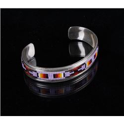Sterling Navajo Beaded Bracelet Signed