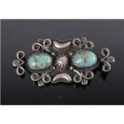 Navajo Old Pawn Sterling And Turquoise Pin Signed