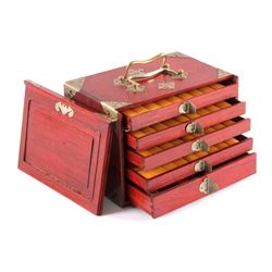 Bamboo and Bone Mahjong Set in Wooden Case