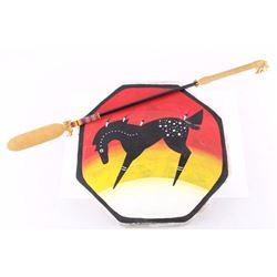 Montana Native American Painted Drum & Drumstick