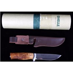 Helle GT Curly Burl Birch Handle Knife With Sheath