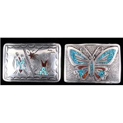 Navajo Signed Turquoise & Coral Tooled Buckles