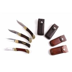Collection Of Schrade Folding Knives With Cases
