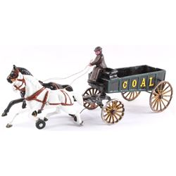 Early Cast Iron Toy Horse Drawn Coal Wagon