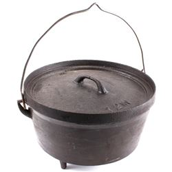 Cast Iron 12 In Footed Dutch Oven Late 19th C.